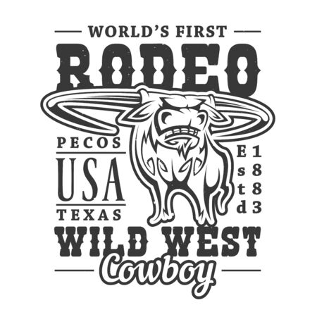 Cowboy rodeo, American Western longhorn bull t-sirt print. Vector Wild West Texas rider sport, t-shirt white and black outline label of longhorn bull