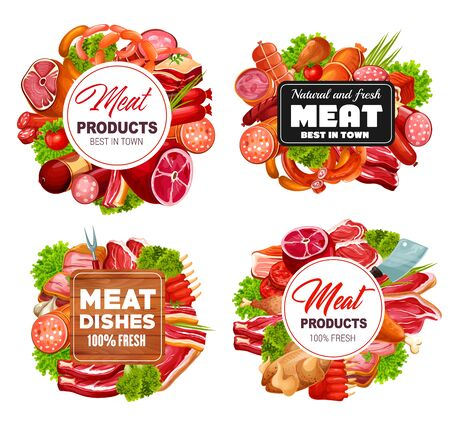 Butcher shop meat and sausages, butchery food products and gourmet delicatessen. Vector pork, beef meat and mutton ribs, steak sirloin, barbecue brisket with ham, bacon, salami and cervelat sausages 일러스트