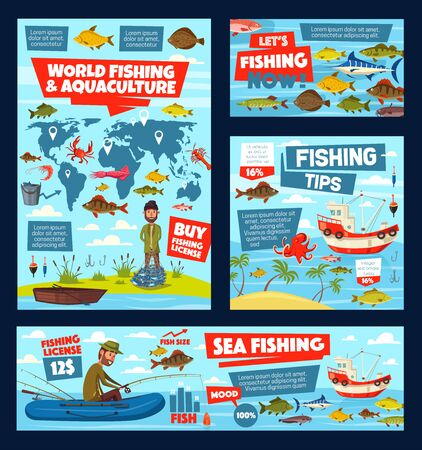 Fishing, aquaculture and fisher license infographic with world map. Vector graphs, charts of fish catch in sea, ocean and lake, fisherman tackles and baits, squid and crab, tuna and salmon