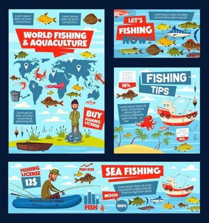 Infografía de licencia de pesca, acuicultura y pesca con mapa del mundo. Gráficos vectoriales, tablas de captura de peces en el mar, océano y lago, aparejos y cebos de pescadores, calamares y cangrejos, atún y salmón Ilustración de vector