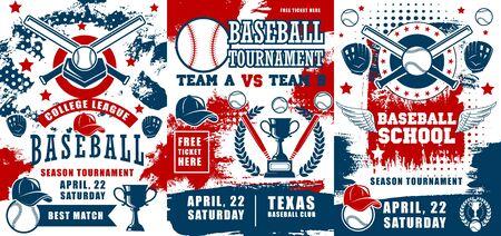 Baseball sport championship, school or college team club. Vector professional baseball players, sport equipment, tickets, winner tournament cup