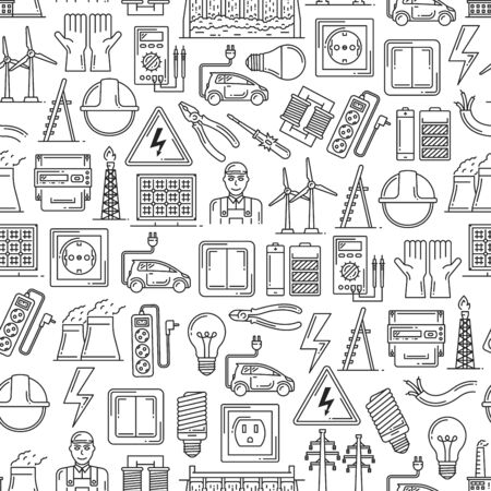 Electric power, electricity and energy generation seamless pattern. Vector background of electrician, equipment, light bulb or electricity socket, electro car and solar battery pattern