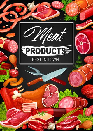 Gourmet meat and sausages, butcher shop products and delicatessen. Vector butchery pork, beef meat and mutton ribs, steak sirloin, barbecue brisket with ham, bacon, salami and cervelat, sausages Illusztráció
