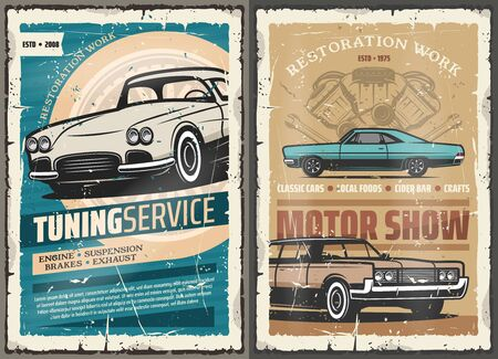 Vintage old cars tuning service, mechanic diagnostic and garage station. Vector vintage motor show and repair service, rare vehicles spare parts and maintenance