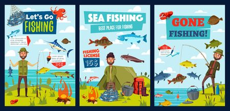 Fishing sport, fish, fisherman at sea or lake. Vector fisher camp, tent and fishing equipment, boat, hooks and lure baits for marlin, tuna or carp and pike, crab and shrimp