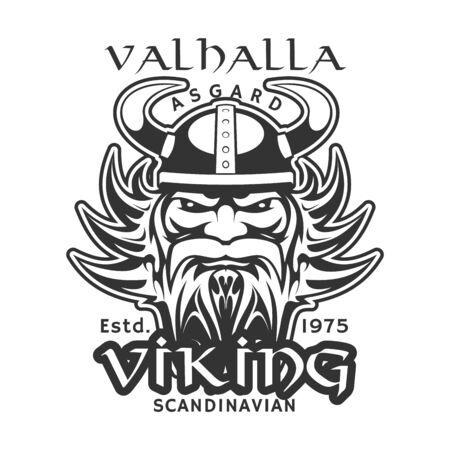Viking warrior, Scandinavian t-shirt print. Vector medieval scandinavian knight man with beard in horn helmet, Norse or Nordic viking warrior sign, vintage ancient history symbol