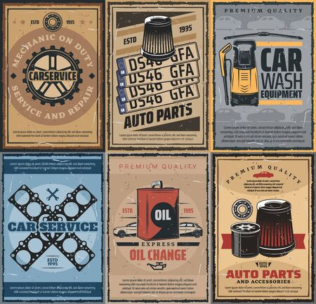 Car washing service, engine oil change and spare parts store. Vector vehicle registration number plates ang motor gasket replacement, air filters and bearings parts Stock Illustratie