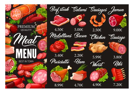 Menù di carne e salsicce della macelleria. Prodotti alimentari di macelleria di qualità vettoriale e specialità gastronomiche gourmet di bistecca di manzo, salame e prosciutto, medaglioni di carne e pancetta di maiale con pollo