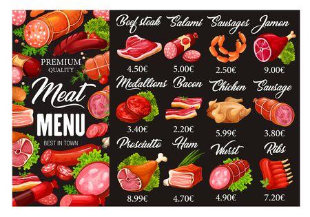 Menu de viandes et saucisses de boucherie. Produits alimentaires de boucherie de qualité vectorielle et épicerie fine gastronomique de steak de boeuf, saucisse de salami et jamon, médaillons de viande et bacon de porc au poulet
