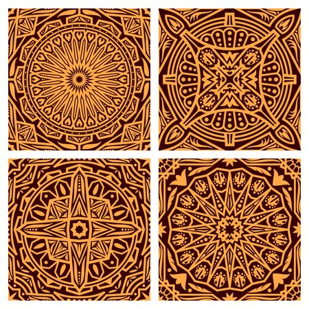 Arabesque seamless pattern vector background. Orange and brown background of Muslim geometric decoration, oriental flower and star in circle ornament motif pattern