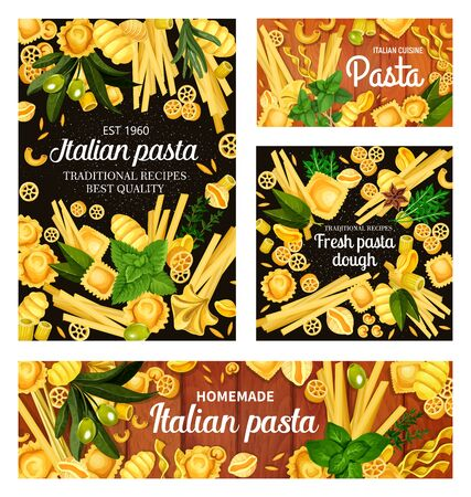 Vector spaghetti, penne and fusilli with olives and basil, farfalle macaroni, fettuccine and tagliatelle pasta. Italian pasta restaurant menu and cuisine traditional homemade cooking spices Ilustracja