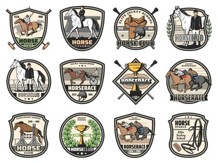 Horse races and equine sport club icons. Vector jockey polo club tournament, horse racing in carriages and jumping, jockey dressage and heraldic victory laurel wreath Illustration
