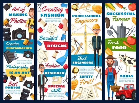 Building and construction engineer, fashion designer or dressmaker tailor, farmer and photographer professions. Vector photography, architect and agriculture, dressmaking professional tools Ilustracja