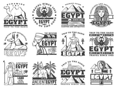 Egypt travel and Cairo landmarks icons. Vector ancient Egyptian pharaoh pyramids, sphinx and mummy, Anubis and eye sign, camel and coptic cross. Desert journey adventure to Egypt treasure antiquity