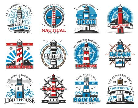 Lighthouse heraldic icons, seafarer marine safety sailing and sailor adventure heritage. Vector sea beacon with light beams, seagulls and anchor, ship helm and compass navigator Çizim
