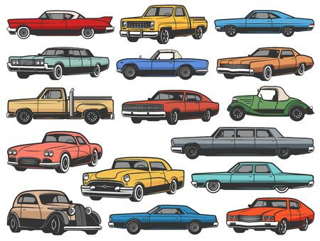 Vintage vector retro cars and vehicle isolated objects. Old classic and antique vehicle models of muscle sport rally car, truck and cabriolet, coupe or convertible sedan, retro transport Vektoros illusztráció