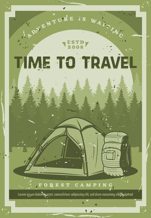 Camping adventure, mountain and forest wild nature travel trips. Vector tourist camp tent, tourist backpack, scout expedition and extreme wilderness exploration hiking club