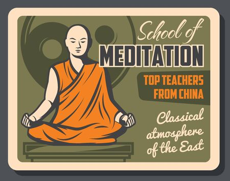 Buddhism religious center, meditation school. Vector Buddhist spiritual tranquility and Dharma enlightenment learning, monk in meditation posture with mudra hands, Yin Yang sign Illusztráció