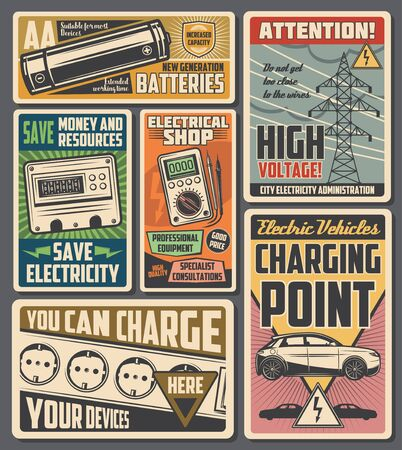 Electrician service, electrical tools and equipment shop, save electricity. Vector electric vehicle, electro car and mobile phone device charging point, high voltage warning sign