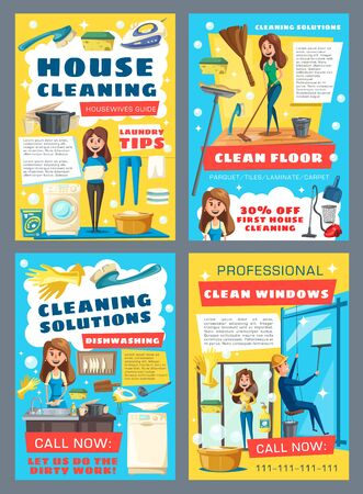 House cleaning and professional laundry service posters. Vector housewife mopping floor and laundry, washing, window glass cleaning and kitchen dish washing. Housekeeping service