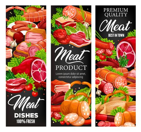 Meat and sausages, butcher shop food products and gourmet delicatessen. Vector butchery pork, beef meat and mutton ribs, steak sirloin, barbecue brisket with ham, bacon and salami sausages Иллюстрация