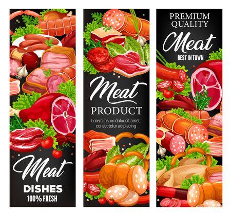 Viande et charcuterie, boucherie produits alimentaires et épicerie fine. Vector boucherie porc, viande de boeuf et côtes de mouton, surlonge de steak, poitrine de barbecue avec jambon, bacon et saucisses de salami