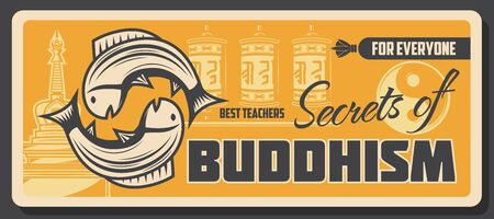 Buddhism religious school, learning and teaching center Vector Buddhist spiritual tranquility and Dharma enlightenment, Yin Yang, carp fish sign and temple prayer wheels