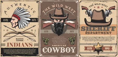 Western vintage posters, wild West sheriff star badge and Indian chief in eagle feather headdress, bow and arrows. Vector Western cowboy bandit or robber in scarf with rifles guns and revolvers