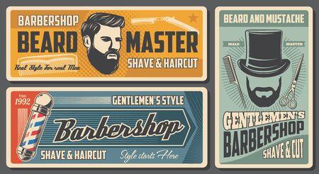 Barbershop, barber and man hairdresser salon vintage posters. Vector gentleman hat with beard and mustaches, barber shop pole sign, shaving razor blade, hair comb and scissors Ilustração