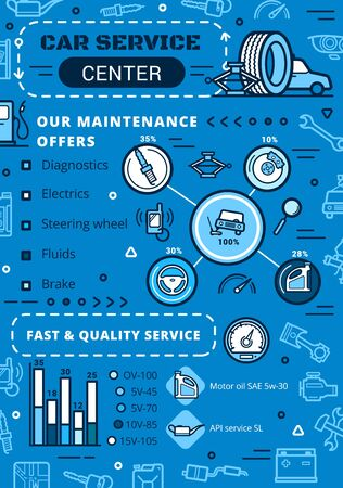 Car service center, maintenance, diagnostics and repair infographic. Vector percent diagram on engine spark plug and oil replacement, car brakes restoration and electric checkup