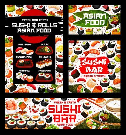 Japanese sushi and rolls menu, cuisine food bar or restaurant. Vector nigiri sushi, temaki or uramaki and futo-maki rolls, oshidzushi of fish and seafood sushi in rice and nori seaweed
