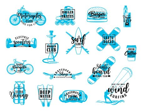 Sport hobby, recreation activities and entertainment lettering icons. Vector motorcycle and roller skates club, winter skateboarding and scuba diving, windsurfing and bicycle, burger and hookah bar Illustration