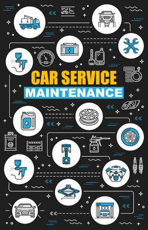 Car service maintenance, mechanic diagnostics and vehicle check-up. Vector car service station, engine oil change, garage repair lift or wheel tire pumping and spare parts replacement