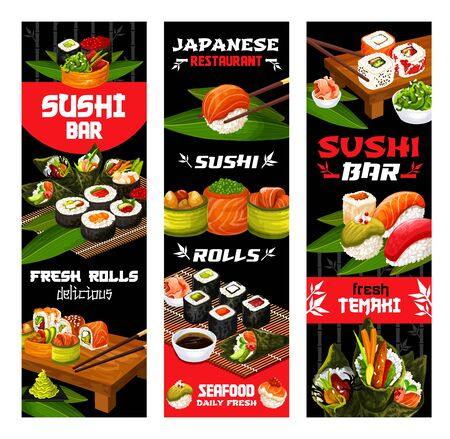 Sushi menu, Japanese cuisine food and restaurant banners. Vector fish and seafood sushi rolls with bamboo chopsticks, salmon and tuna sashimi with rice, seaweed salad and soy or wasabi sauce