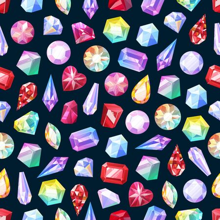 Gemstones seamless pattern of gem jewels, diamonds and jewelry precious stones. Vector background of ruby, sapphire crystal and emerald, opal and amethyst rhinestones, topaz and quartz gems