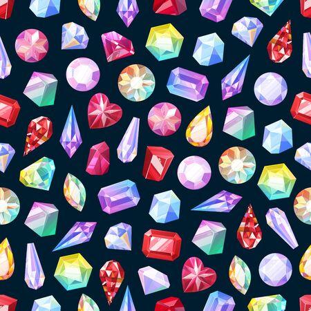 Piedras preciosas de patrones sin fisuras de joyas, diamantes y joyas de piedras preciosas. Fondo de vector de rubí, cristal de zafiro y esmeralda, diamantes de imitación de ópalo y amatista, topacio y gemas de cuarzo