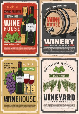Winemaking house and winery grand reserve. Vector wine production factory and shop, wooden barrels and red wine bottle and champagne with cheese and vineyard grape Ilustração