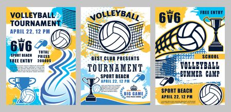 Volleyball sport championship cup and school league or college team match tournament halftone posters. Vector summer camp volleyball game, victory cups and ball flying in net
