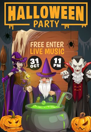Halloween horror night witch, Dracula vampire and evil wizard with vector pumpkins, spiders and net, potion cauldron, broom and black magic staff. Halloween autumn holiday party invitation Ilustracja