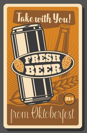 Beer festival, Oktoberfest brewery fest, beer pub. Vector traditional Oktoberfest holiday beerhouse craft beer bottle and can, brewing wheat malt and hop