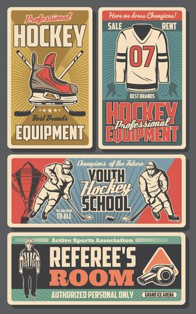 Ice hockey school and professional sport equipment stores. Vector ice hockey player shirt and skates, puck and stick player, goalkeeper and referee whistle, championship match cup