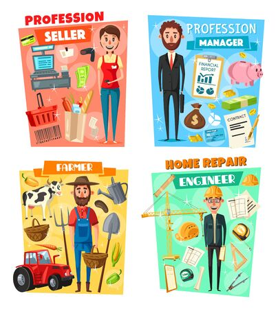 Business manager, farmer, architect engineer and supermarket seller professions. Vector cartoon shopping cart, money and contracts, farming agriculture and cattle, construction and building tools