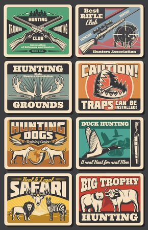 Hunting open season, wild animals and wildfowl hunt club. Vector hunter traps warning sign, elk and deer antlers trophy, african safari lion and zebra, hunt ammo, equipment, rifles