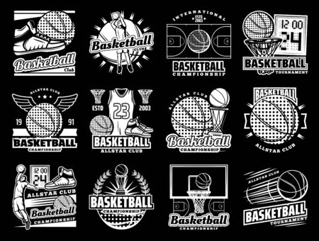 Vector icons of basketball ball, scoreboard and champion cup, streetball game shoes with wings and winner stars. Basketball club, college team tournament, and university league emblems
