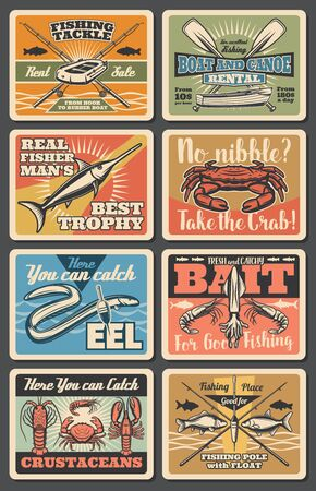 Sea fishing vintage posters, big fish catch and fisherman tackles store. Vector wood or rubber boat and canoe rental, baits and lures sale for squid, crab and shrimps or eel and carp fishing