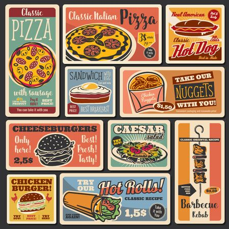 Fast food takeaway snacks, hot dogs and burgers retro posters. Vector fastfood hamburger and cheeseburger sandwich, pizza and chicken nuggets, caesar salad and egg sandwich Illustration