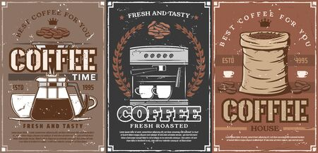 Coffee shop and coffeehouse drinks. Vector coffee maker machine, beans in bag, latte steam in takeaway mug and portafilter pot with crown. Vintage style vector posters Ilustração