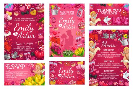 Wedding invitations and marriage party menu with roses floral wreath, hearts and golden wedding rings. Vector bride and bridegroom names, cupid angels, balloons, gifts and doves