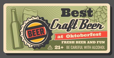 Festival de cerveza y cervecería Oktoberfest, cartel vintage de cerveza artesanal hecha a mano. Cerveza artesanal de barril de vector en botella y jarra de pinta, celebración de fiesta de alcohol de cerveza tradicional Oktoberfest Ilustración de vector