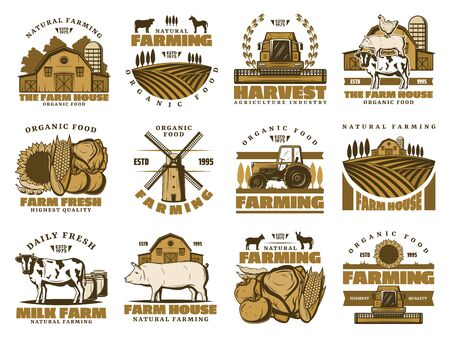 Agriculture farming icons. Vector farm and vegetables harvest, beef and pork meat butchery, pig and cow, wheat barn and farmer mill on field, chicken and horse